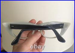 Vintage NOS Bold Extreme Wing CatEye Glass Frame France Blue Grey Unused 46