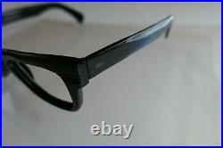 Vintage NOS Hipster Thick Black PAUL Horn Rim Eyeglass Frame France Indent 50/22