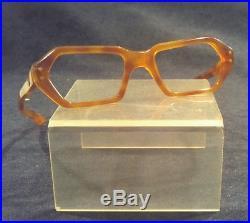 Vintage Orange Plastic Hex C. H. O. Eyeglasses frames France 44/18 Unique & Rare