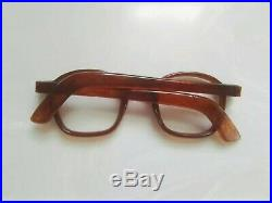 Vintage Panto 1950 French France Eye Glasses Brown Lunettes Thick Eyeglasses