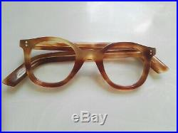 Vintage Panto 1950 French France Eye Glasses Brown Lunettes Thick Eyeglasses 1