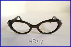 Vintage Rhinestone Eyeglass Frames L. Evrard 1950s Eyeglasses Cat Eye NOS