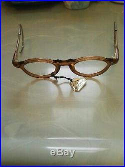 Vintage Round Panto 1950 French Eye Glasses Crystal Tan New Deadstock Lunettes
