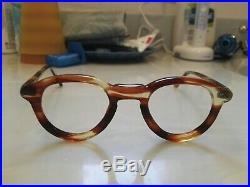 Vintage Round Panto 1950 French France Eye Glasses Brown Lunettes Eyeglasses 7