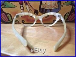 Vintage Selecto Frame France Pearl Cat Eye Rhinestones Glasses Cateye Eyeglasses