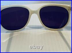 Vintage Sunglasses Vuarnet 002 White Cats Style Frame Blue Lenses