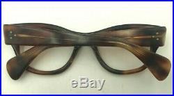 Vintage Swank Tortoise Oval Horn-Rimmed Triple Dot Eyeglasses Frames France