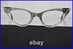 Vintage TWEC Eyeglasses Smoky Translucent Rhinestones Made France Narrow NOS