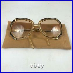Vintage Ted Lapidus Paris Amber Gold Swirl Tl 10 42 Oversized Square Glasses