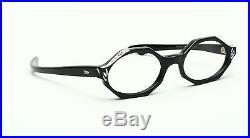 Vintage black 1950s eyeglasses with rhinestones, Swank Mod Babette 44-20 #EG 1-4