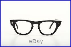 Vintage black 1960s eyeglasses Selecta Straighttop size 46-20mm #EG 1-2