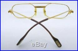 Vintage gold filled eyeglasses frames Cartier PARIS Santos 24KT 53-20 130 France