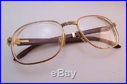 Vintage gold filled & wood eyeglasses frames Cartier Paris Monceau Palisander