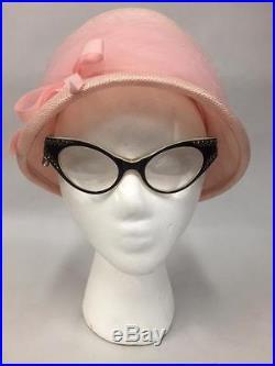 Vintage retro cat eye RHINESTONE eyeglass frames FRANCE ladies BLACK Ivory