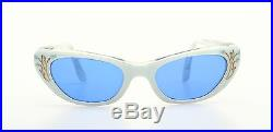 Vintage white 1950s cateye sunglasses in white 46-22mm with decor #SG 2-3