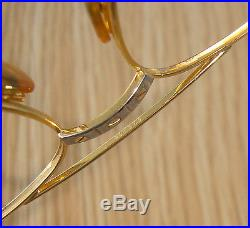 Vtg. CARTIER Must Romance Santos 61-18 Large Aviator Gold+Plati. Frames sunglasses
