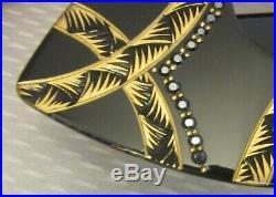 Vtg FRENCH EYEGLASS FRAMES dramatic gold inlay marcasite snake eye mask display