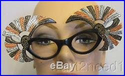 Vtg Fabulous French jeweled carved PEACOCK EYEGLASS FRAMES newithold carved