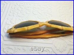 Vtg French Antique Sunglasses Cat Eye Bamboo Frames Amber Green Lens 50s