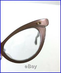 Vtg SELECTA Cat Eye Eyeglasses Frames Mauve Gray Gold Star Details 60s 48-20-140