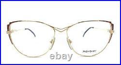 Yves Saint Laurent NEW Vintage Gold Round Eyeglasses Frames 57-15 Paris France